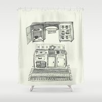 kitchen Shower Curtains featuring Kitchen by piankaB