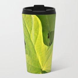 Golden Green Oak Leaves Travel Mug