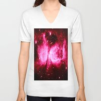 hot pink V-neck T-shirts featuring A Star is Born : Hot Pink Galaxy by Galaxy Dreams