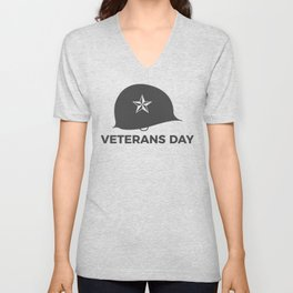 Veterans Day Commemorative Soldier Helmet Star Unisex V-Neck