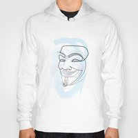 quibe Hoodies featuring One line mask: V by quibe