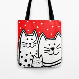 Three Kitties With Polka Dots Tote Bag