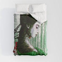 Cyberpunk Geisha Cyborg Matrix Binary Code  Comforters