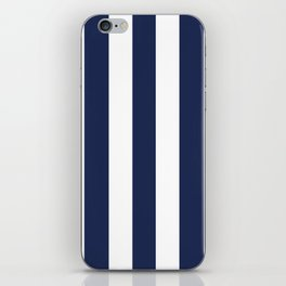 Space cadet blue - solid color - white vertical lines pattern iPhone Skin