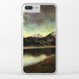 Milky way over twin lakes Clear iPhone Case