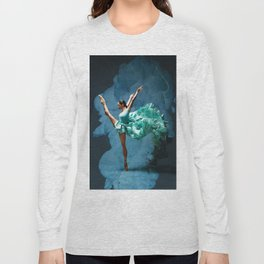 -O1- Blue Ballet Dancer Deep Feelings. Long Sleeve T-shirt
