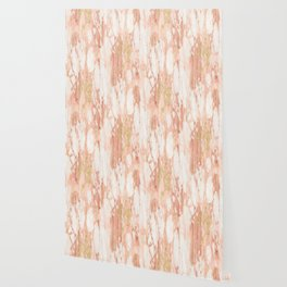 Rose Gold Marble - Rose Gold Yellow Gold Shimmery Metallic Marble Wallpaper