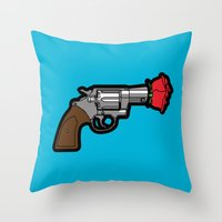 banksy Throw Pillows featuring Pop Icon - Banksy by Greg-Guillemin