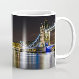 Night photo of Tower Bridge and the Tower of London with light reflections Coffee Mug