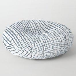 thin blue lines crosshatch Floor Pillow
