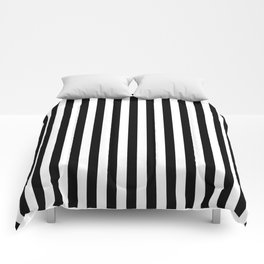 Stripe Black And White Vertical Line Bold Minimalism Comforters