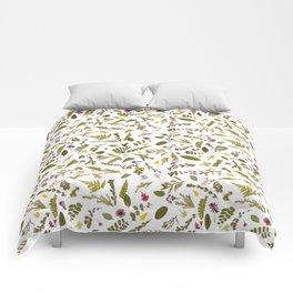 Greenery Floral Pressed Flowers Comforters