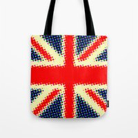 union jack Tote Bags featuring Union Jack by deff