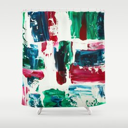 Jingle all the way green blue red white acrylic abstract brushstrokes christmas pattern Shower Curtain