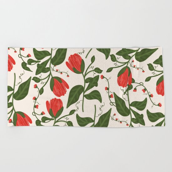 Red Bright Floral Pattern Beach Towel