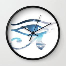 Eye of Horus Sky Background Wall Clock