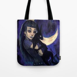 Hare in the moon Tote Bag