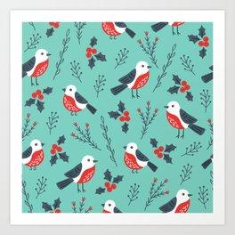 Christmas Birds & Winter Foliage Pattern Art Print