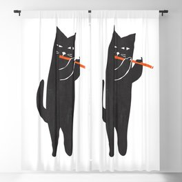 Black cat with flute Blackout Curtain