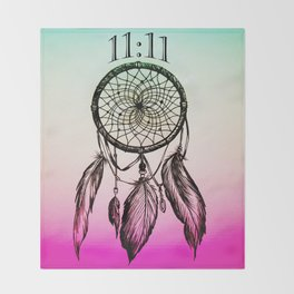 11:11 Eleven Eleven Spiritual Dream Catcher Throw Blanket