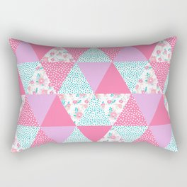 Bright quilt triangle cheater quilt pattern florals modern color palette gifts for nursery Rectangular Pillow