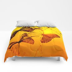 Fly fly butterfly! - Butterflies on a orange background with sunlight #society6 #buyart Comforters