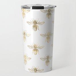 Gold Bee Pattern Travel Mug