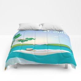 St. John, Virgin Islands - Skyline Illustration by Loose Petal Comforters