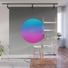 Turquoise Hot Pink Focal Point Wall Mural
