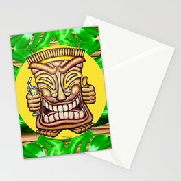 Happy Tiki On Yellow Disc & Leaves Stationery Cards