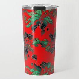 Vintage floral seamless pattern with hand drawn flowering crocus on the red background Travel Mug