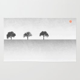 Tree Artwork Grey And Black Landscape Rug