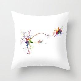 Multipolar Neuron Colorful Watercolor Throw Pillow