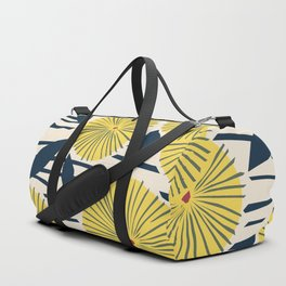 vintage, retro yellow, red and navy flower pattern Duffle Bag
