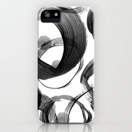 Modern abstract black white hand painted brushstrokes iPhone Case