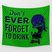 drunk Wall Tapestries featuring DRUNK GIRL by flydesign
