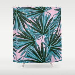 Tropical Palm Leaves in Botanical Green + Pink Shower Curtain