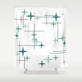 Mid Century Modern Stars (Teal) Shower Curtain