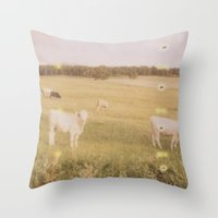 cows Throw Pillows featuring Cows by Kristine Ridley