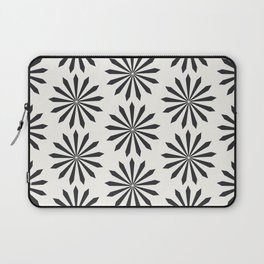 Black snowflake on light beige pattern Laptop Sleeve