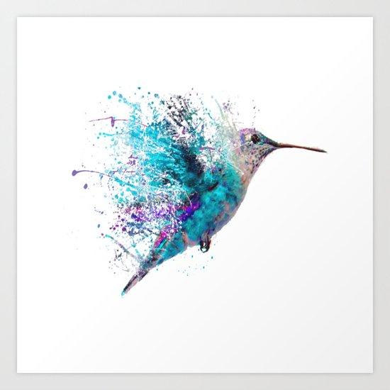 humming bird splash art print by allfunkedout society6