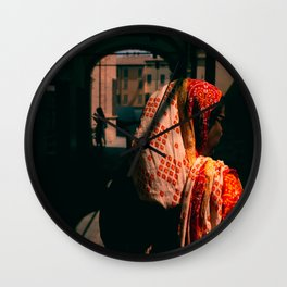 Indian woman, Italian market Wall Clock