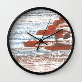 Orange blue marble wash drawing Wall Clock