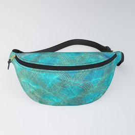 Sea Ocean Waves effect- Gold and Aqua Scales Pattern Fanny Pack