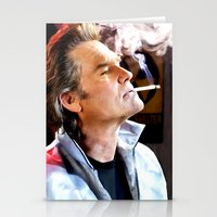 quentin tarantino Stationery Cards featuring Kurt Russell as Stuntman Mike McKay in the film Death Proof (Quentin Tarantino - 2007) by Gabriel T Toro