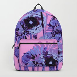 blue flowers on pink background Backpack