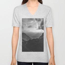Valley - black and white landscape photography Unisex V-Neck
