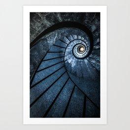 Pretty blue spiral staircase Art Print