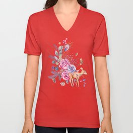 Watercolor cute fawn and vintage roses Unisex V-Neck