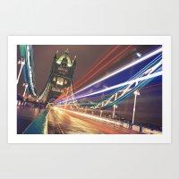 Light steaks at Tower Bridge, London Art Print